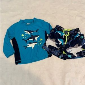 Carter's two piece bathing suit with rash guard